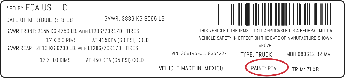 Color Code Example For Chrysler