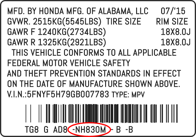 Color Code Example For Honda