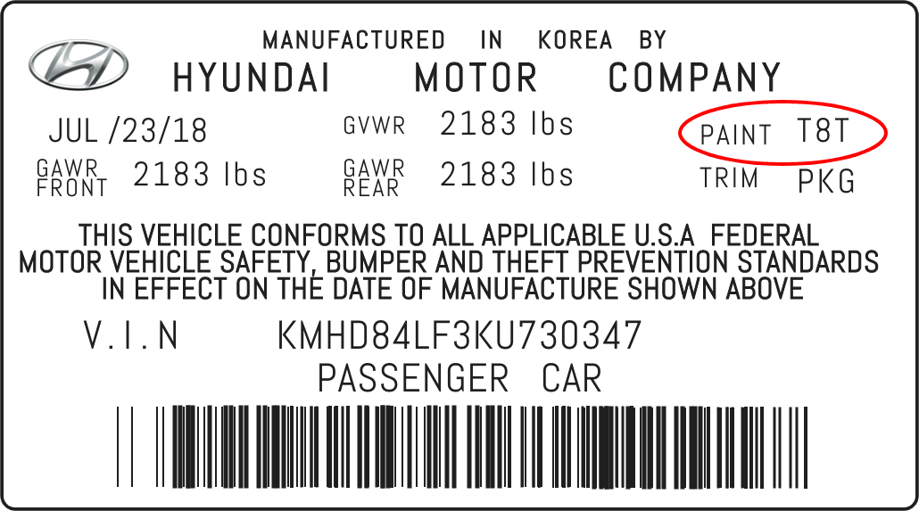 Color Code Example For Hyundai