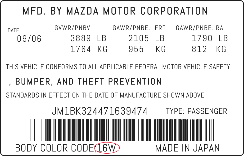 Color Code Example For Mazda