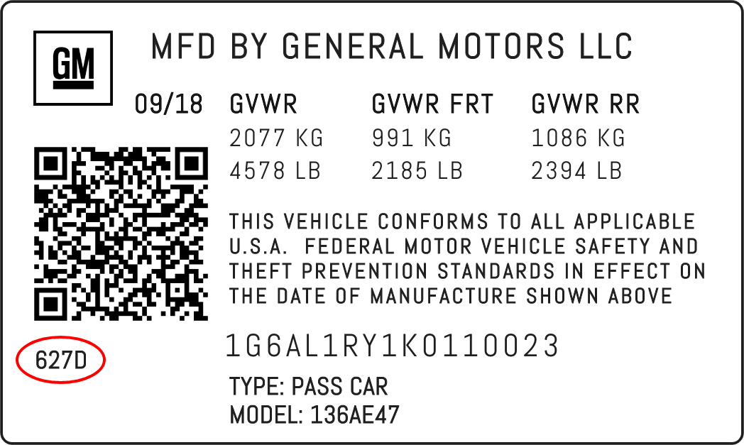 Color Code Example For General Motors