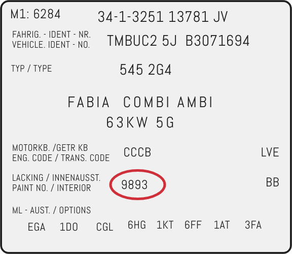 Color Code Example For Skoda