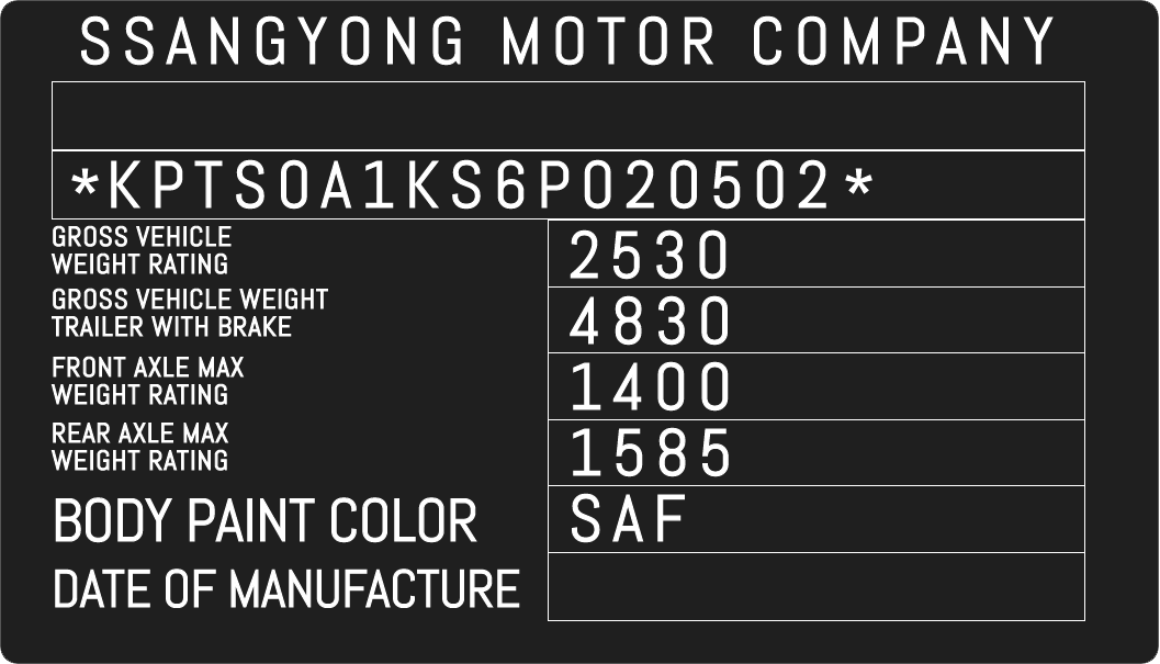 Color Code Example For Ssangyong