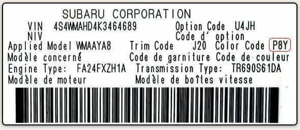 Color Code Example For Subaru
