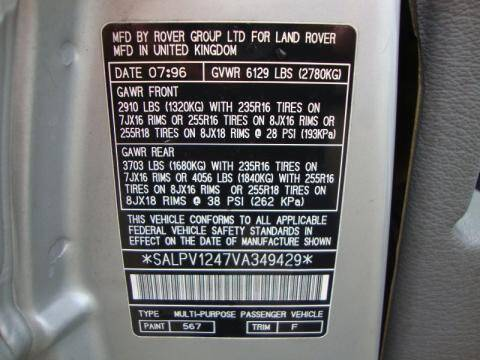 Color Code Example For Range Rover