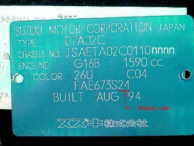 Color Code Example For Suzuki