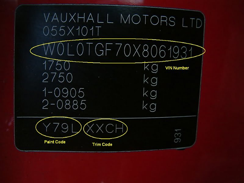 Color Code Example For Vauxhall